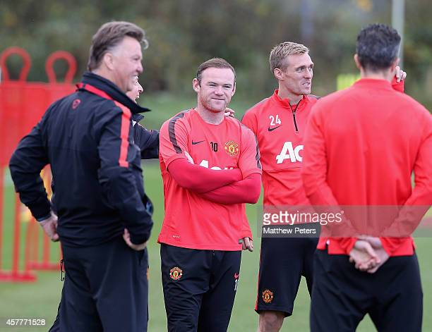 Wayne Rooney of Manchester United in action during a first team training session at Aon Training Complex on October 24 2014 in Manchester England