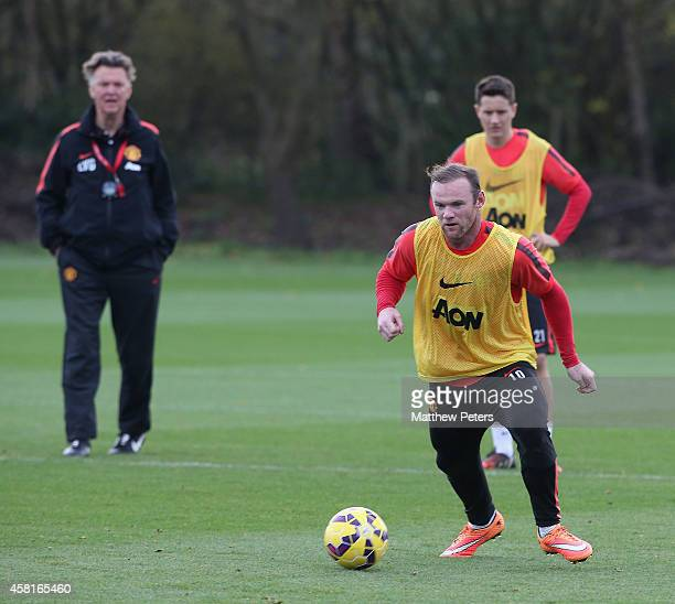 Wayne Rooney of Manchester United in action during a first team training training session at Aon Training Complex on October 31 2014 in Manchester...