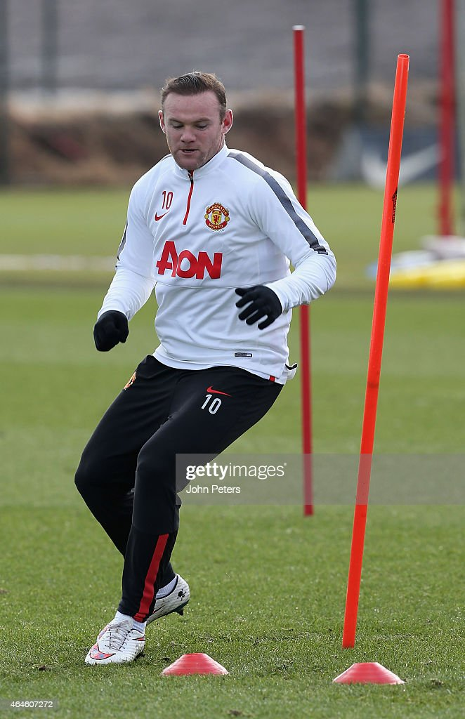 Wayne Rooney of Manchester United in action during a first team training session at Aon Training Complex on February 27, 2015 in Manchester, England.