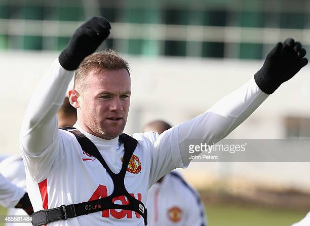 Wayne Rooney of Manchester United in action during a first team training session at Aon Training Complex on March 8 2015 in Manchester England