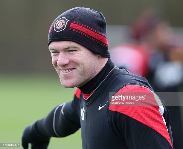 Wayne Rooney of Manchester United in action during a first team training session at Aon Training Complex on February 21, 2014 in Manchester, England.