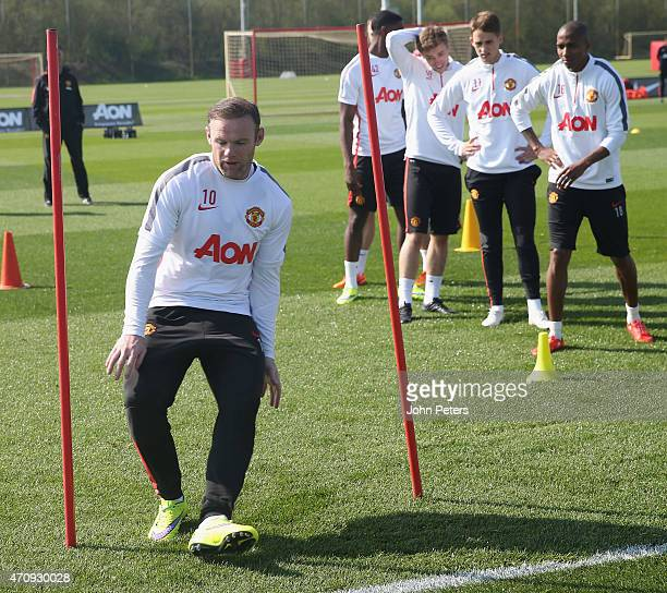 Wayne Rooney of Manchester United in action during a first team training session at Aon Training Complex on April 24 2015 in Manchester England
