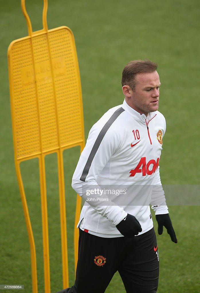 Wayne Rooney of Manchester United in action during a first team training session at Aon Training Complex on May 8, 2015 in Manchester, England.