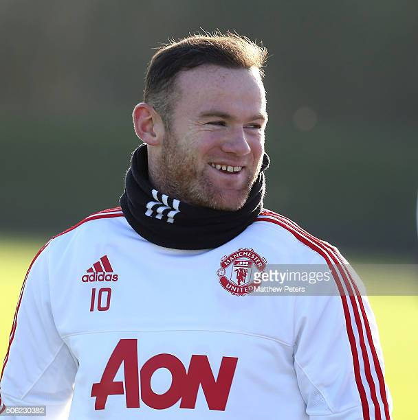 Wayne Rooney of Manchester United in action during a first team training session at Aon Training Complex on January 22 2016 in Manchester England