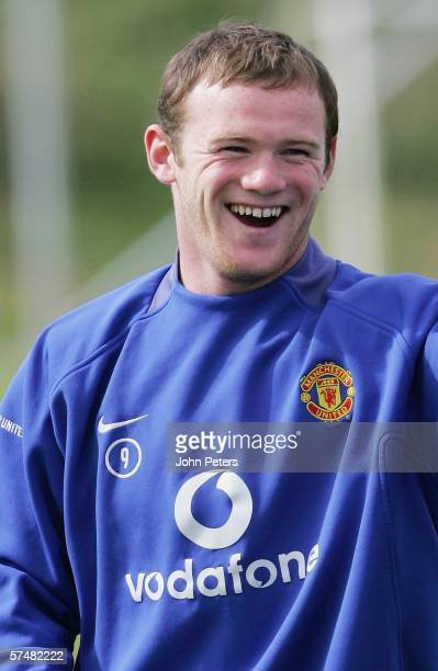 Wayne Rooney of Manchester United in action during a first team training session at Carrington Training Ground on April 28 2006, in Manchester,...