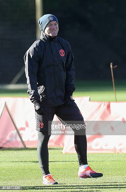 Wayne Rooney of Manchester United in action during a first team training session at Aon Training Complex on October 19 2016 in Manchester England