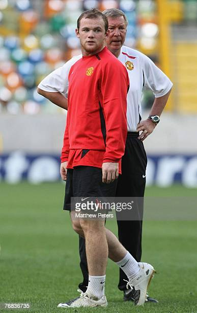 Wayne Rooney of Manchester United in action during a First Team training session at Jose Alvalade Stadium on September 18 2007 in Lisbon Portugal