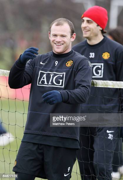 Wayne Rooney of Manchester United in action during a first team training session at Carrington Training Ground on February 17, 2009 in Manchester,...