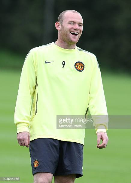 Wayne Rooney of Manchester United in action during a first team training session ahead of their UEFA Champions League match against Glasgow Rangers...
