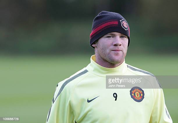 Wayne Rooney of Manchester United in action during a first team training session, ahead of their UEFA Champions League match against Bursaspor, at...