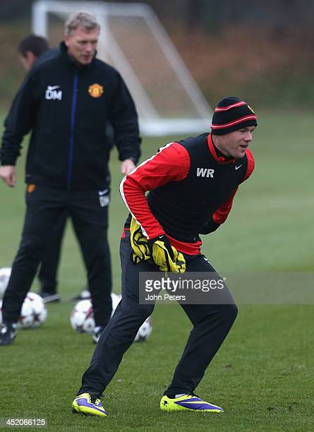 Wayne Rooney of Manchester United in action during a first team training session ahead of their UEFA Champions League Group A match against Bayer...