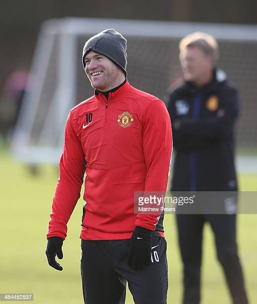 Wayne Rooney of Manchester United in action during a first team training session, ahead of their UEFA Champions League Group A match against Shakhtar...