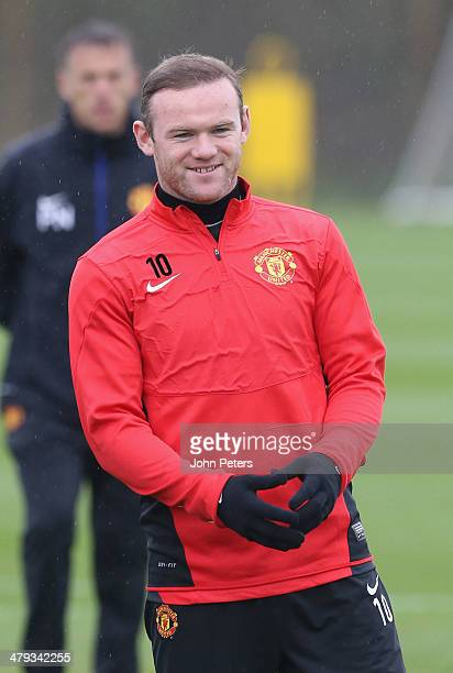 Wayne Rooney of Manchester United in action during a first team training session ahead of their UEFA Champions League Round of 16 second leg match...
