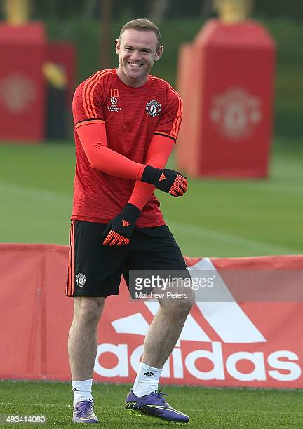 Wayne Rooney of Manchester United in action during a first team training session, ahead of their UEFA Champions League Group B match against CSKA...