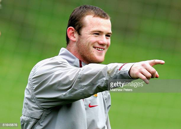 Wayne Rooney of Manchester United in action during a first team training session ahead of the UEFA Champions League match against Sparta Prague at...