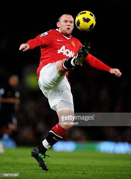 Wayne Rooney of Manchester United in action during the Barclays Premier League match between Manchester United and Aston Villa at Old Trafford on...
