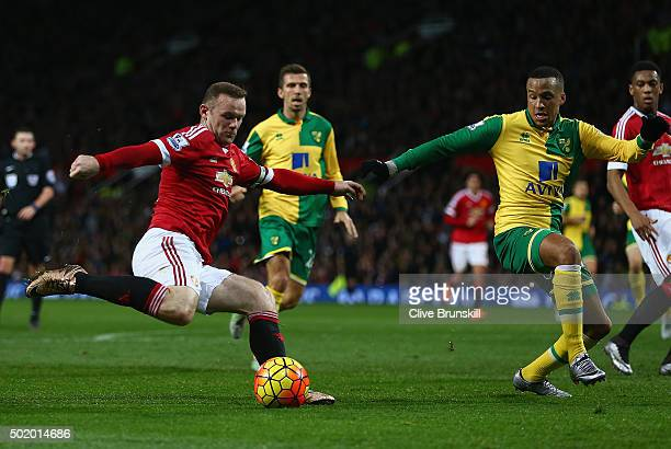 Wayne Rooney of Manchester United in action during the Barclays Premier League match between Manchester United and Norwich City at Old Trafford on...