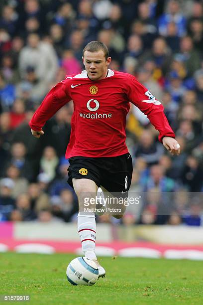 Wayne Rooney of Manchester United in action during the Barclays Premiership match between Birmingham City and Manchester United at St Andrew's on...