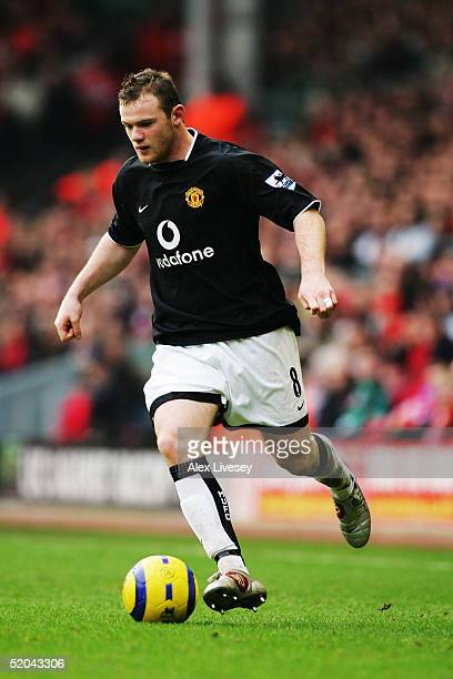 Wayne Rooney of Manchester United in action during the Barclays Premiership match between Liverpool and Manchester United at Anfield on January 15...