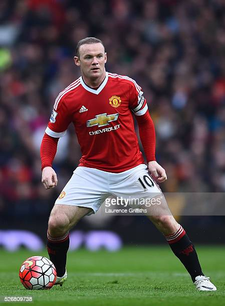 Wayne Rooney of Manchester United in action during the Barclays Premier League match between Manchester United and Leicester City at Old Trafford on...