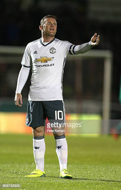 Wayne Rooney of Manchester United in action during the EFL Cup Third Round match between Northampton Town and Mancester United at Sixfields Stadium...