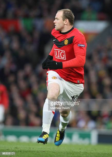 Wayne Rooney of Manchester United in action during the FA Barclays Premier League match between Manchester United and Bayern Munich at Old Trafford...
