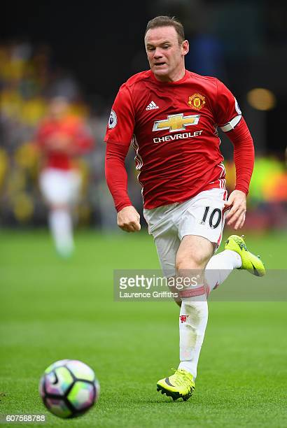Wayne Rooney of Manchester United in action during the Premier League match between Watford and Manchester United at Vicarage Road on September 18...