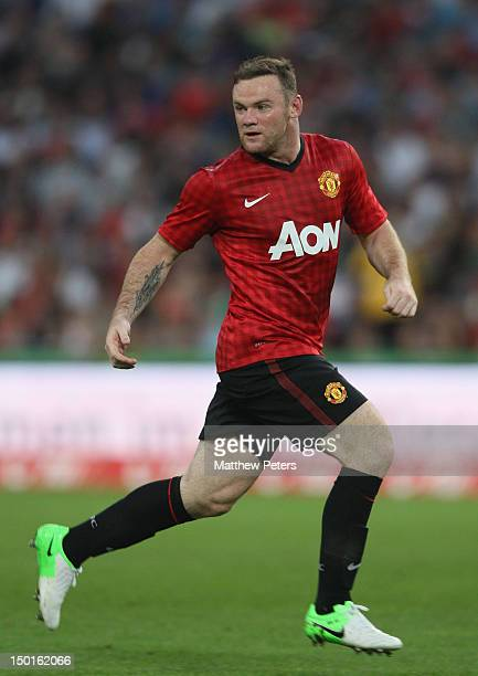 Wayne Rooney of Manchester United in action during the pre-season friendly match between Hannover 96 and Manchester United at AWD Arena on August 11,...
