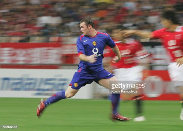 Wayne Rooney of Manchester United in action during the preseason friendly match between Urawa Reds and Manchester United at Saitama Stadium 2002 on...