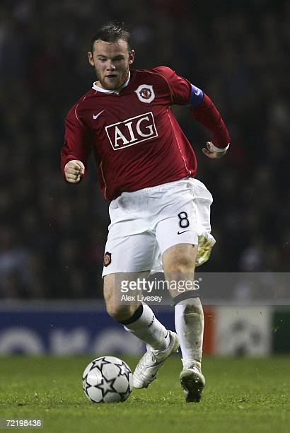 Wayne Rooney of Manchester United in action during the UEFA Champions League Group F match between Manchester United and FC Copenhagen at Old...
