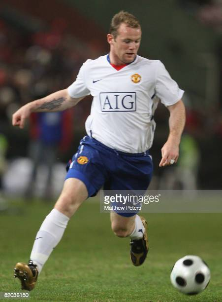 Wayne Rooney of Manchester United in action during the Vodacom Challenge preseason friendly match between Orlando Pirates and Manchester United at...