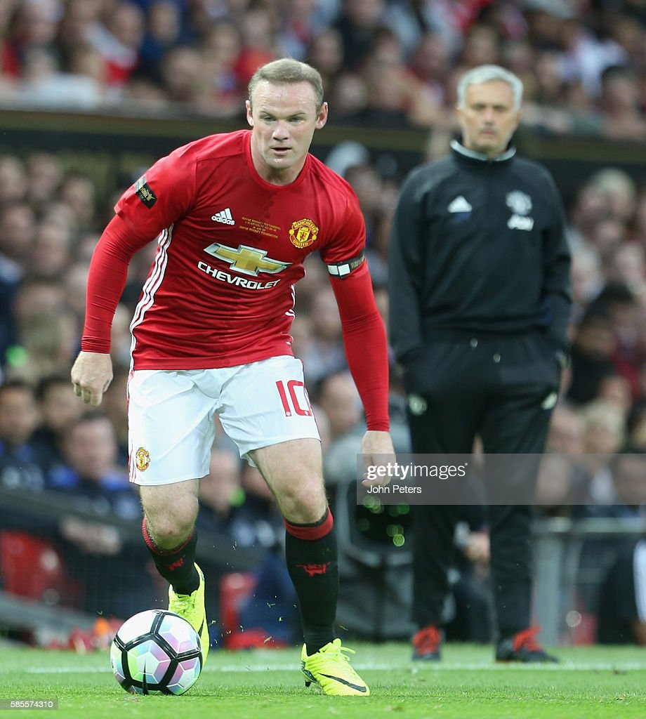 Wayne Rooney of Manchester United in action during the Wayne Rooney Testimonial match between Manchester United and Everton at Old Trafford on August 3, 2016 in Manchester, England.