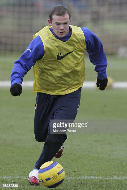Wayne Rooney of Manchester United in action on the ball during a first team training session at Carrington Training Ground on January 13 2006 in...