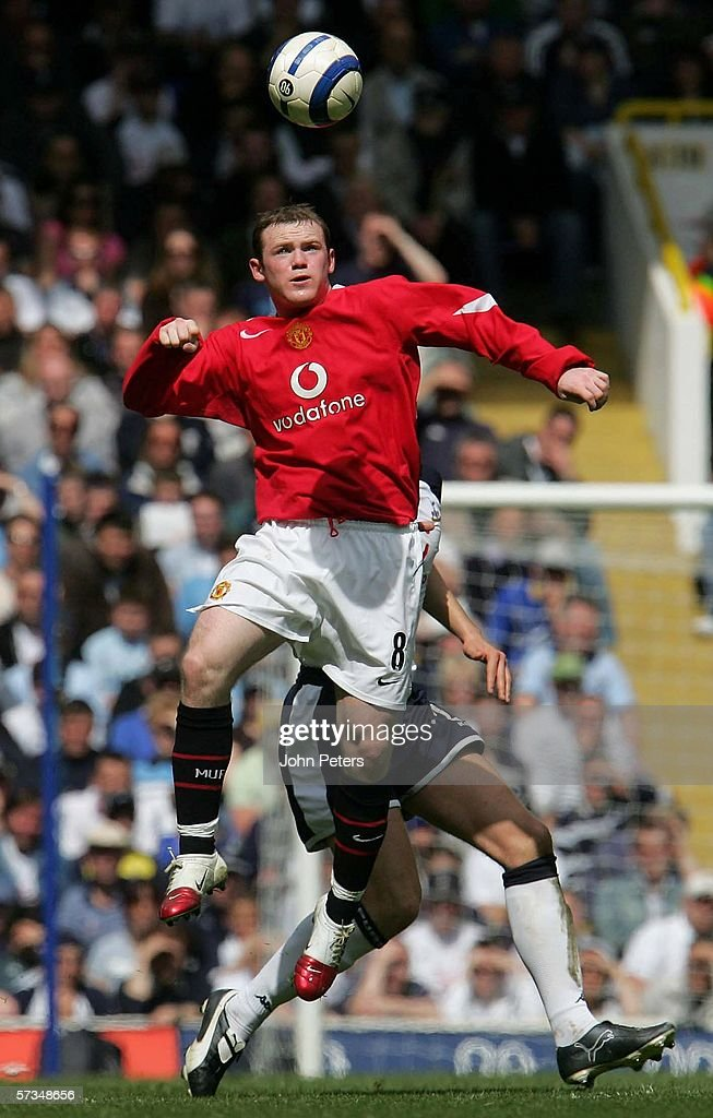 Wayne Rooney of Manchester United in action on the ball during the Barclays Premiership match between Tottenham Hotspur and Manchester United at White Hart Lane on April 17, 2006 in London, England.