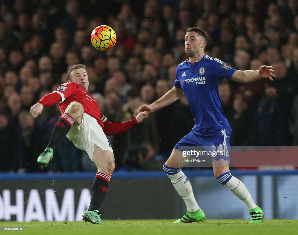 Wayne Rooney of Manchester United in action with Gary Cahill of Chelsea during the Barclays Premier League match between Chelsea and Manchester United at Stamford Bridge on February 7 2016 in London, England.
