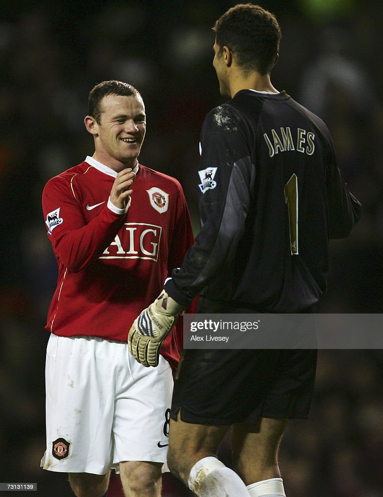 Wayne Rooney of Manchester United is congratulated by David James of Portsmouth at the end of the FA Cup sponsored by E.ON Fourth Round match between Manchester United and Portsmouth at Old Trafford on January 27, 2007 in Manchester, England.