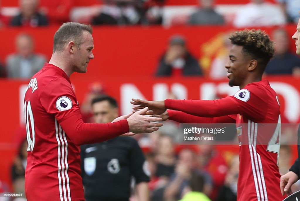 Wayne Rooney of Manchester United is replaced by Angel Gomes during the Premier League match between Manchester United and Crystal Palace at Old Trafford on May 21, 2017 in Manchester, England.