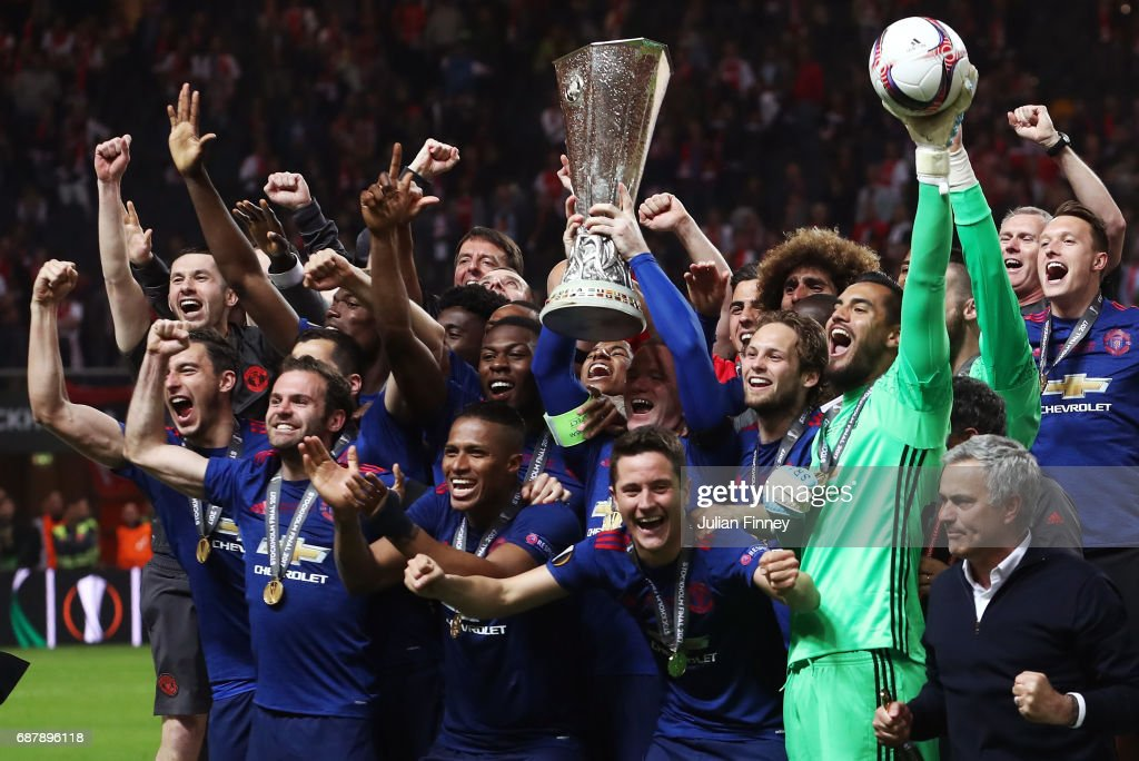 Wayne Rooney of Manchester United lifts The Europa League trophy after the UEFA Europa League Final between Ajax and Manchester United at Friends Arena on May 24, 2017 in Stockholm, Sweden.