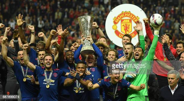 Wayne Rooney of Manchester United lifts The Europa League trophy after the UEFA Europa League Final between Ajax and Manchester United at Friends...