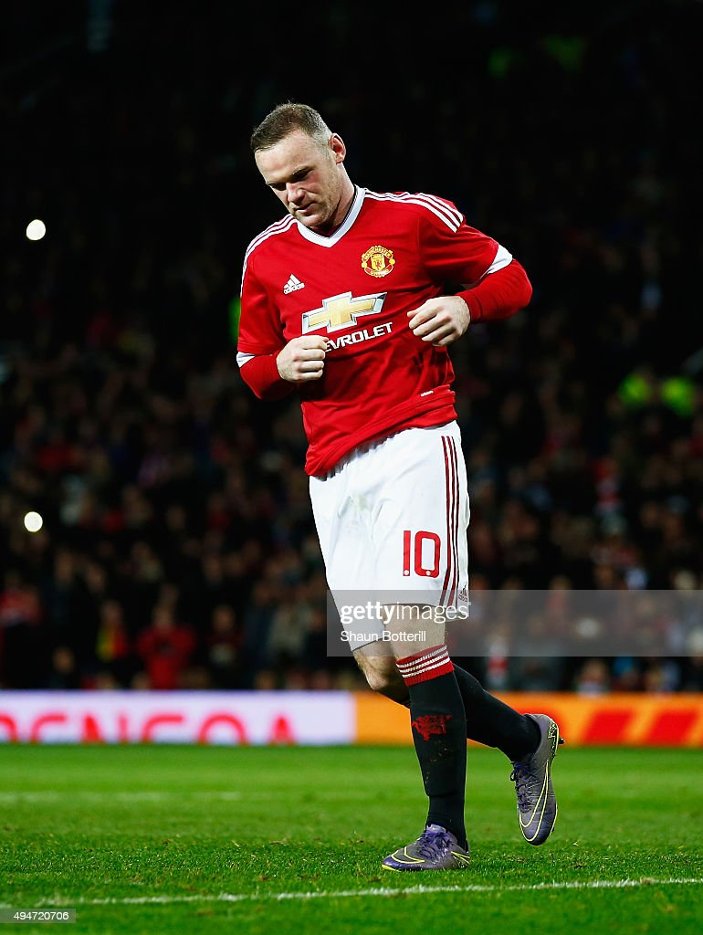 Wayne Rooney of Manchester United looks dejected after failing to score in the penalty shoot out during the Capital One Cup Fourth Round match between Manchester United and Middlesbrough at Old Trafford on October 28, 2015 in Manchester, England.