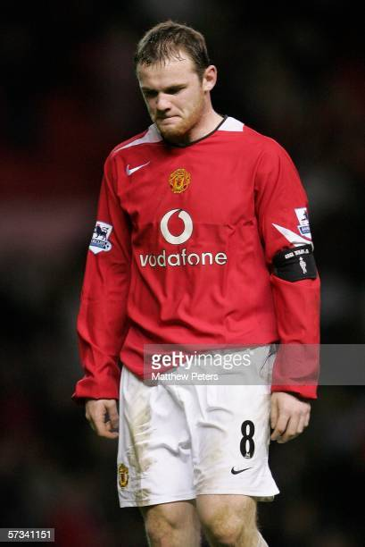 Wayne Rooney of Manchester United looks disappointed at the final whistle of the Barclays Premiership match between Manchester United and Sunderland...