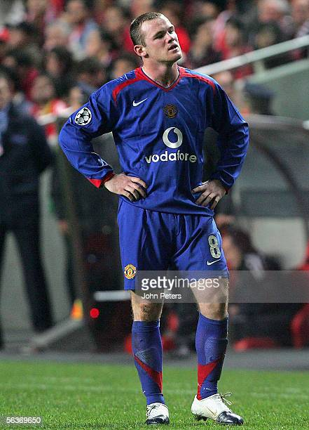 Wayne Rooney of Manchester United looks disappointed during the UEFA Champions League match between Benfica and Manchester United at the Stadium of...