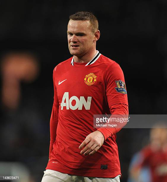 Wayne Rooney of Manchester United looks on during the Barclays Premier League match between Manchester City and Manchester United at Etihad Stadium...