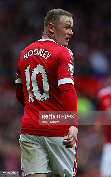Wayne Rooney of Manchester United looks on during the Barclays Premier League match between Manchester United and Aston Villa at Old Trafford on...