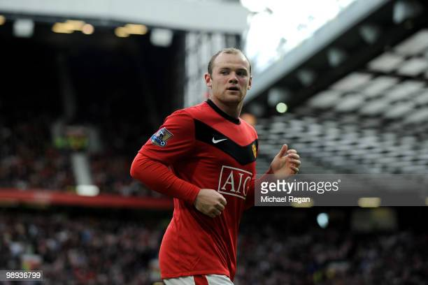 Wayne Rooney of Manchester United looks on during the Barclays Premier League match between Manchester United and Stoke City at Old Trafford on May 9...