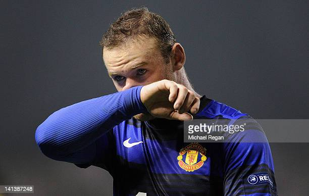 Wayne Rooney of Manchester United looks on during the UEFA Europa League Round of 16 second leg match between Manchester United and Athletic Bilbao...