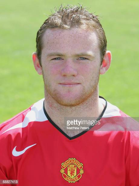 Wayne Rooney of Manchester United poses during the annual club photocall at Carrington Training Ground on 5 August 2005 in Manchester England