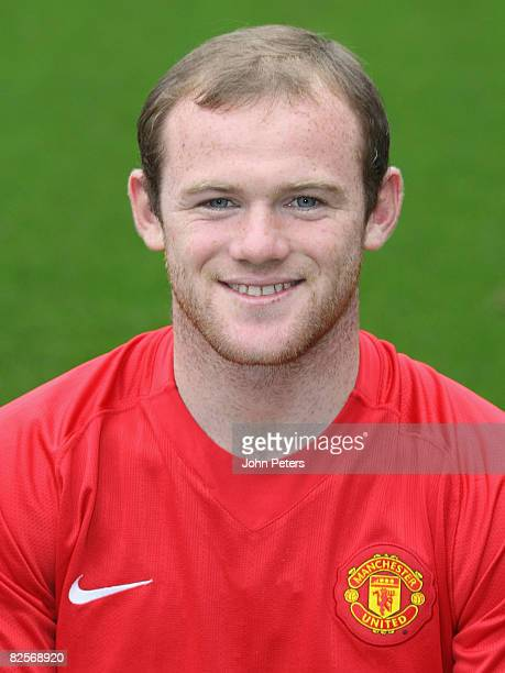 Wayne Rooney of Manchester United poses during the club's official annual photocall at Old Trafford on August 27 2008 in Manchester England