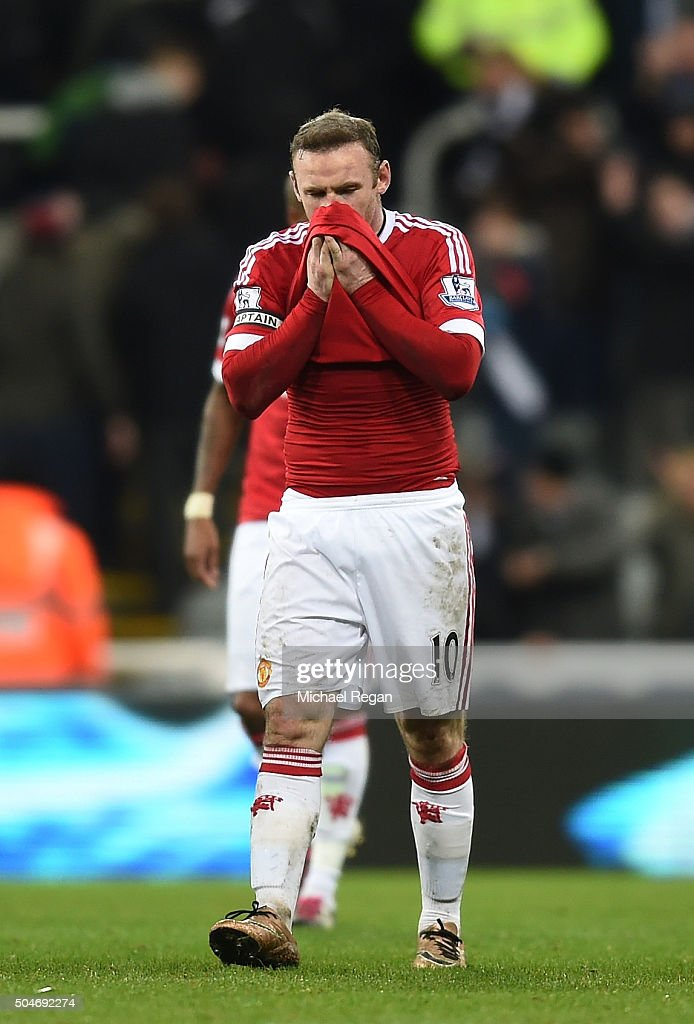 Wayne Rooney of Manchester United reacts after his team draw in the Barclays Premier League match between Newcastle United and Manchester United at St James' Park on January 12, 2016 at Newcastle upon Tyne, England.