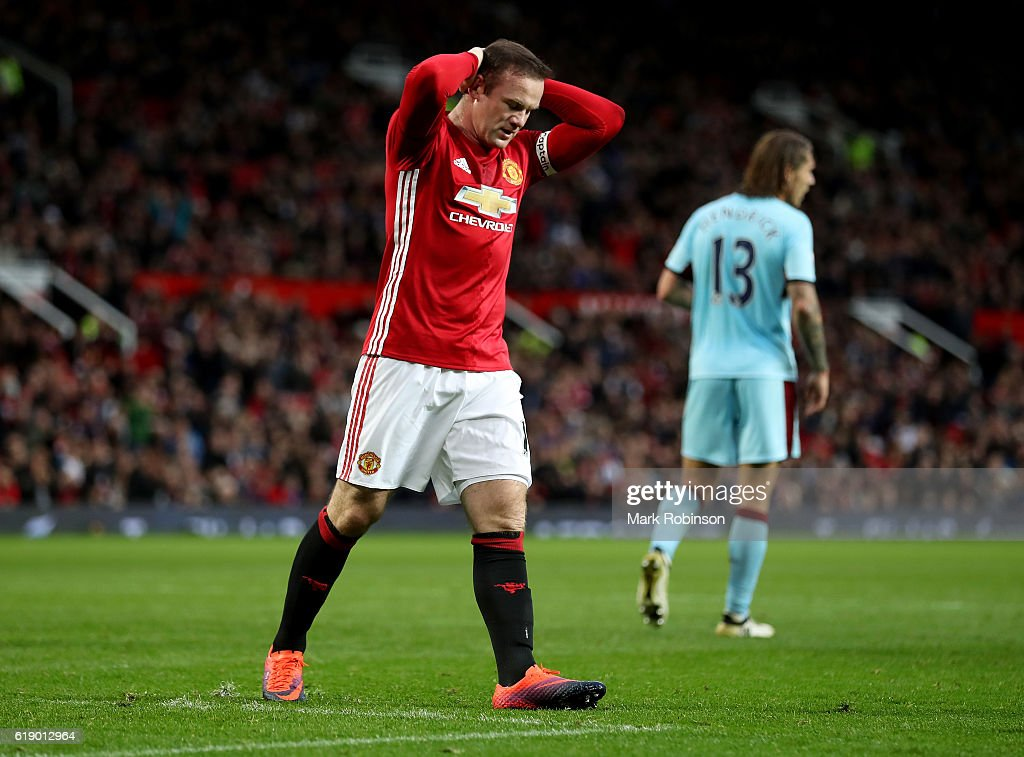 Wayne Rooney of Manchester United reacts during the Premier League match between Manchester United and Burnley at Old Trafford on October 29, 2016 in Manchester, England.